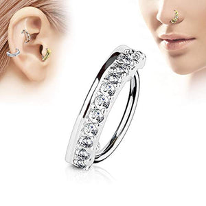 WildKlass CZ Paved Half Circle 316L Surgical Steel Nose, Cartilage Hoop Rings-WildKlass Jewelry