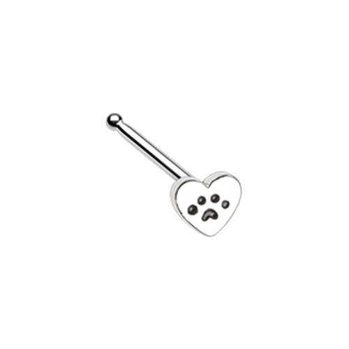 Heart Paw Animal Lover WildKlass Nose Stud Ring-WildKlass Jewelry