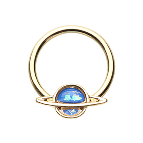Black & Golden Saturn Planet Glitter Opal Steel Captive Bead Ring-WildKlass Jewelry