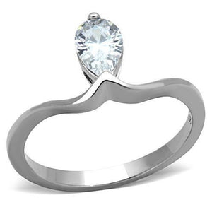 WildKlass Stainless Steel Solitaire Ring High Polished (no Plating) Women AAA Grade CZ Clear-WildKlass Jewelry