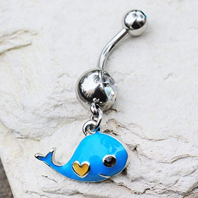 316L Stainless Steel Lovely Blue Whale Dangle WildKlass Navel Ring-WildKlass Jewelry
