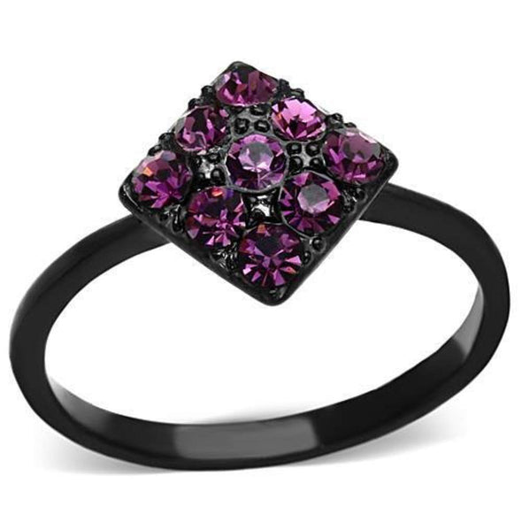 WildKlass Stainless Steel Pave Ring IP Black Women Top Grade Crystal Amethyst-WildKlass Jewelry
