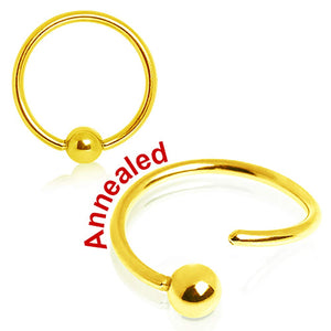 WILDKLASS Gold Plated One Side Fixed Captive Bead Ring