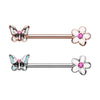 Rose Gold & Silver Spring Butterfly Flower Nipple Barbell Ring-WildKlass Jewelry