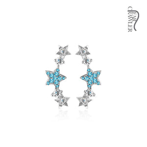 Pair of CZ Paved Stars Prepacked WildKlass Ear Crawler/Ear Climber-WildKlass Jewelry