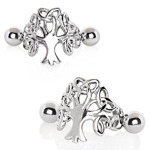 316L Stainless Steel Tree of Life WildKlass Cartilage Cuff Earring-WildKlass Jewelry