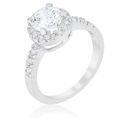 WildKlass Solitaire Engagement Ring With Pave Halo-WildKlass Jewelry