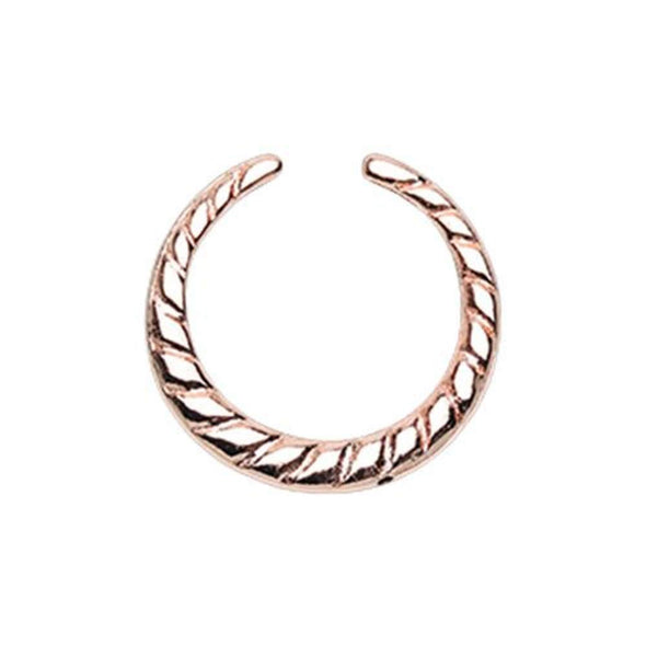 Rose Gold Rope Textured WildKlass Septum Retainer Ring-WildKlass Jewelry