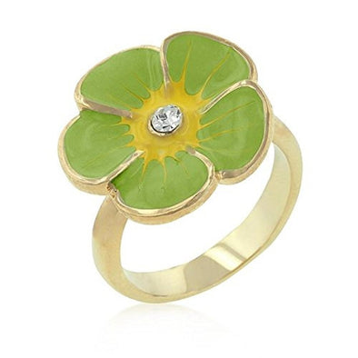 WildKlass Light Green Enamel Floral Ring-WildKlass Jewelry