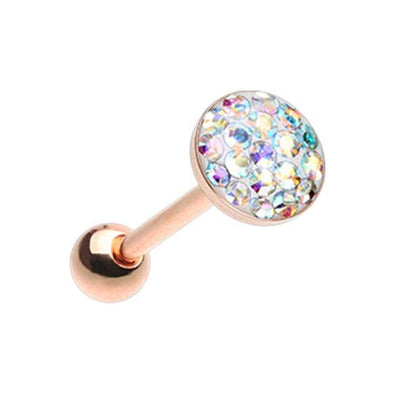 Rose Golden Multi-Sprinkle Dot Multi Gem WildKlass Barbell Tongue Ring-WildKlass Jewelry
