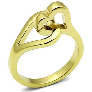 WildKlass Stainless Steel Heart Ring IP Gold(Ion Plating) Women