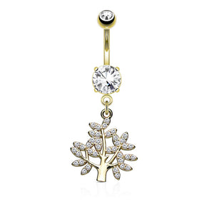 Micro CZ Paved Life Tree Dangle and Round CZ Set 316L Surgical Steel WildKlass Belly Button Navel Rings-WildKlass Jewelry