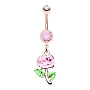 WILDKLASS Rose Gold Pastel Rose Flower Belly Button Ring-WildKlass Jewelry