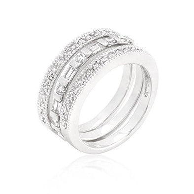 WildKlass Simple Cubic Zirconia Ring Set-WildKlass Jewelry