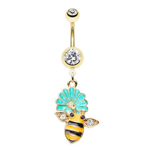 WILDKLASS in Bloom Bumble Bee Gem Belly Button Ring-WildKlass Jewelry