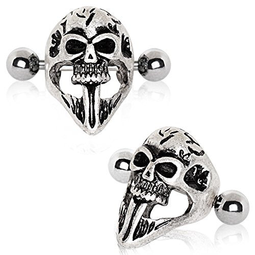 316L Stainless Steel Gothic Skull Mask WildKlass Cartilage Ear Cuff Earring-WildKlass Jewelry