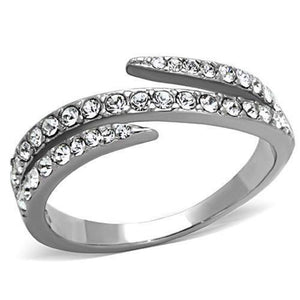 WildKlass Stainless Steel Pave Ring High Polished (no Plating) Women Top Grade Crystal Clear-WildKlass Jewelry