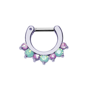 Purple Prong Pacific Opal Gem Precia WildKlass Septum Clicker-WildKlass Jewelry