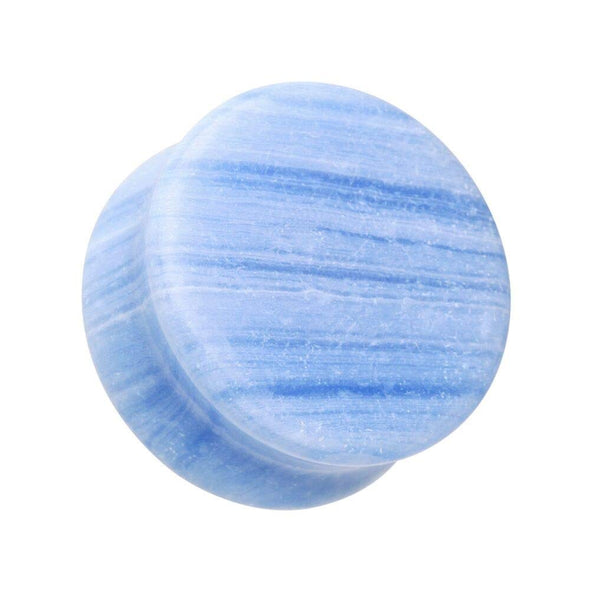 Blue Lace Agate Stone Double Flared Ear Gauge WildKlass Plug-WildKlass Jewelry