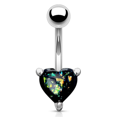 Opal Glitter Heart Prong Set 316L Surgical Steel WildKlass Belly Button Navel Rings-WildKlass Jewelry
