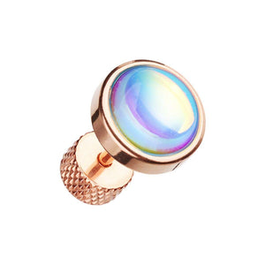Rose Gold Illuminating Moonstone Steel WildKlass Fake Plug-WildKlass Jewelry