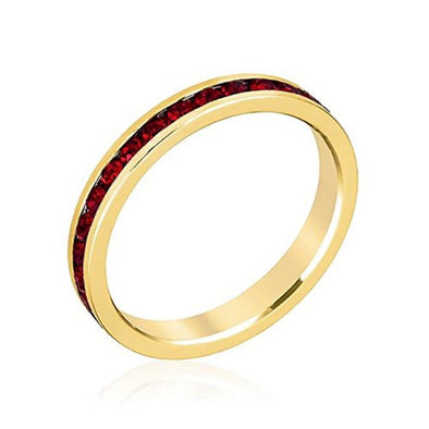 WildKlass Stylish Stackables with Garnet in Gold Crystal Ring-WildKlass Jewelry