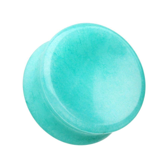Concave Amazonite Natural Stone Double Flared Ear Gauge WildKlass Plug-WildKlass Jewelry