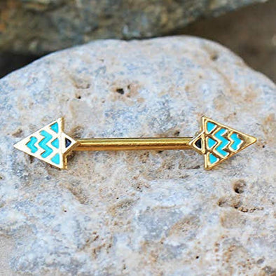 Gold Plated Egyptian Triangle WildKlass Nipple Bar-WildKlass Jewelry