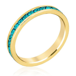 WildKlass Stylish Stackables Turquoise Crystal Gold Ring-WildKlass Jewelry