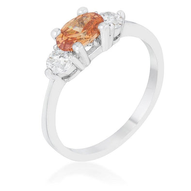 WildKlass 1.2ct Champagne CZ Rhodium Plated Classic Oval Ring-WildKlass Jewelry