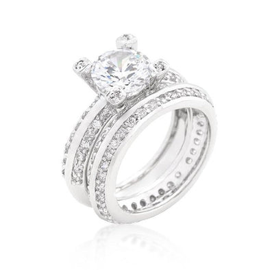 WildKlass Cubic Zirconia Round Cut Pave Ring Set-WildKlass Jewelry