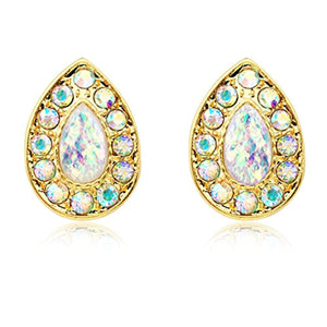 Golden Opal Avice WildKlass Ear Stud Earrings-WildKlass Jewelry