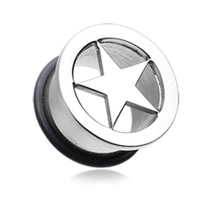 Star Steel Single Flared Ear Gauge Hollow WildKlass Plug-WildKlass Jewelry