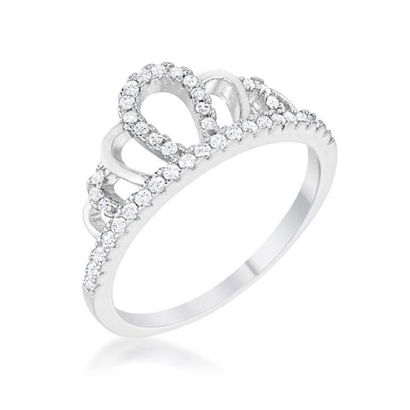 WildKlass 0.2ct Rhodium Plated Simple Crown Ring-WildKlass Jewelry