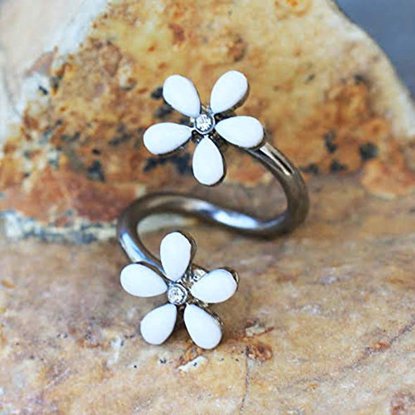 316L Stainless Steel White Wild Flower WildKlass Twist Jewelry-WildKlass Jewelry