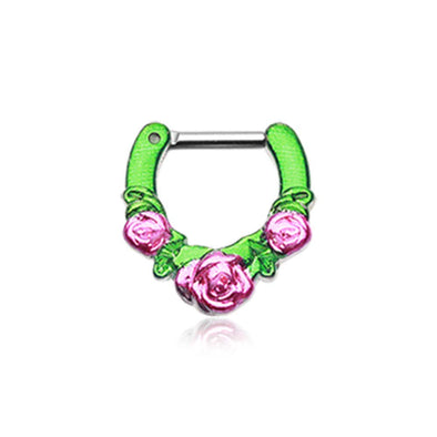 Colorline Rose Garden Icon WildKlass Septum Clicker-WildKlass Jewelry