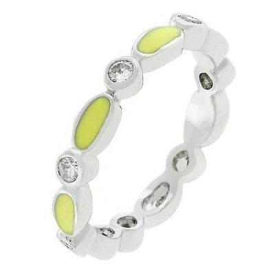 WildKlass Yellow Link Enamel Stacker Ring-WildKlass Jewelry