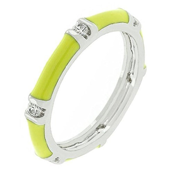 WildKlass Yellow Enamel Stacker Ring-WildKlass Jewelry