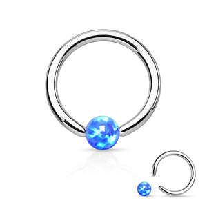 WildKlass Jewelry Opal Captive Bead Synthetic Opal Ball 316L Surgical Steel Silver Spakle-WildKlass Jewelry