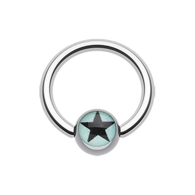 Vivid Star Logo Ball WildKlass Captive Bead Ring-WildKlass Jewelry
