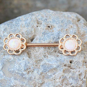 Rose Gold Plated Synthetic Opal Flower WildKlass Nipple Bar-WildKlass Jewelry