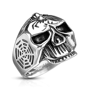 WildKlass Spider Web Skull 316L Stainless Steel Cast Ring-WildKlass Jewelry
