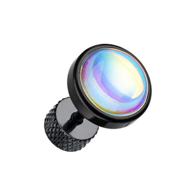 Black Illuminating Moonstone Steel WildKlass Fake Plug-WildKlass Jewelry