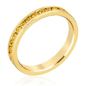 WildKlass Stylish Stackables Yellow Crystal Gold Ring-WildKlass Jewelry