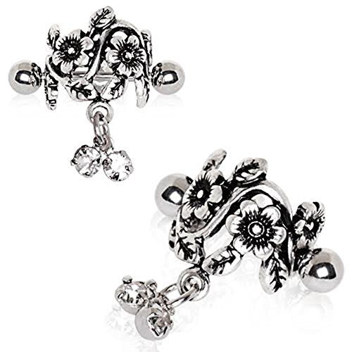 316L Stainless Steel Antique Floral WildKlass Cartilage Cuff Earring-WildKlass Jewelry