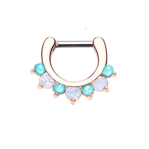 Rose Gold Prong White Opal Gem Precia WildKlass Septum Clicker-WildKlass Jewelry