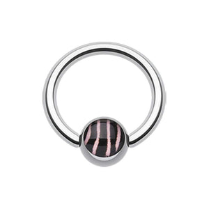Zebra Stripe Logo Ball WildKlass Captive Bead Ring-WildKlass Jewelry