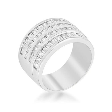 WildKlass 4 Row Rhodium Plated Cubic Zirconia Cocktail Ring-WildKlass Jewelry