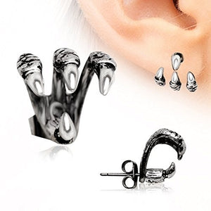 """Trident Triple"" Claw Earring 316L Stainless Steel-WildKlass Jewelry"