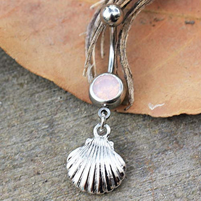 316L Stainless Steel Seashell Dangle WildKlass Navel Ring-WildKlass Jewelry